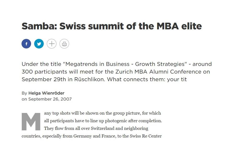 Samba: Swiss summit of the MBA elite